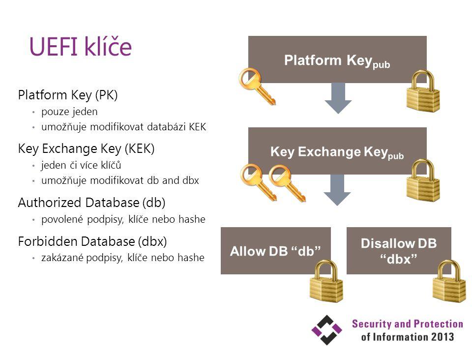 Platform Key (PK) pouze jeden umožňuje modifikovat databázi KEK Key Exchange Key (KEK) jeden či více klíčů umožňuje modifikovat db and dbx Authorized