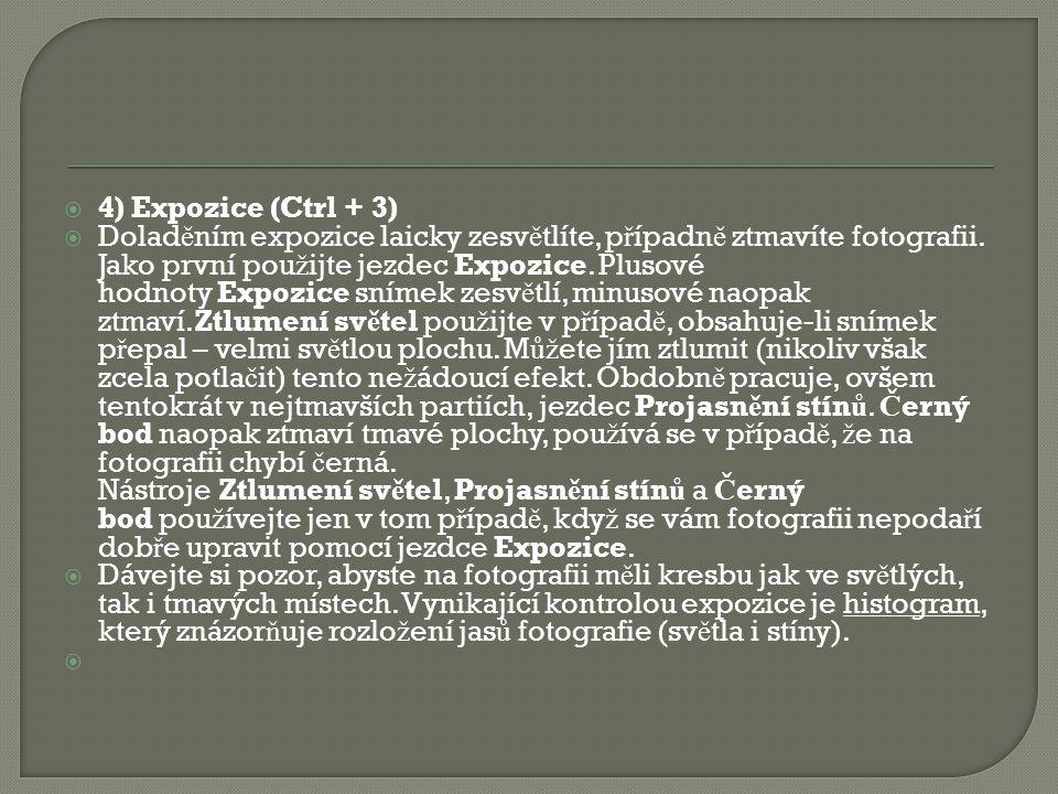  4) Expozice (Ctrl + 3)  Dolad ě ním expozice laicky zesv ě tlíte, p ř ípadn ě ztmavíte fotografii.