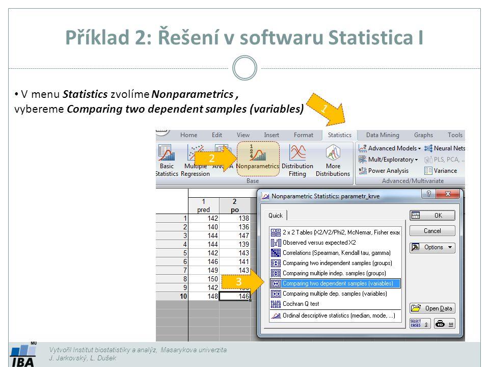 Příklad 2: Řešení v softwaru Statistica I Vytvořil Institut biostatistiky a analýz, Masarykova univerzita J. Jarkovský, L. Dušek 1 3 V menu Statistics