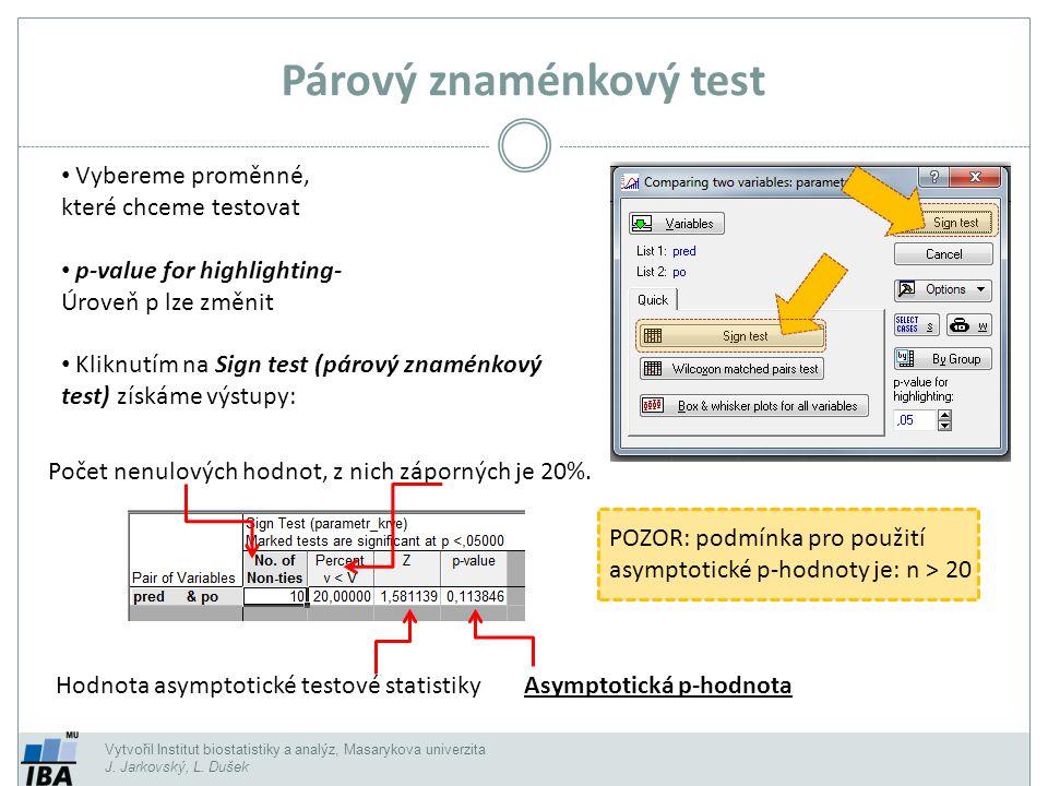 Vytvořil Institut biostatistiky a analýz, Masarykova univerzita J. Jarkovský, L. Dušek Párový znaménkový test Vybereme proměnné, které chceme testovat