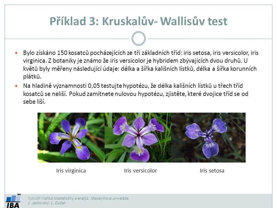 Příklad 3: Kruskalův- Wallisův test Vytvořil Institut biostatistiky a analýz, Masarykova univerzita J. Jarkovský, L. Dušek Iris virginicaIris versicol