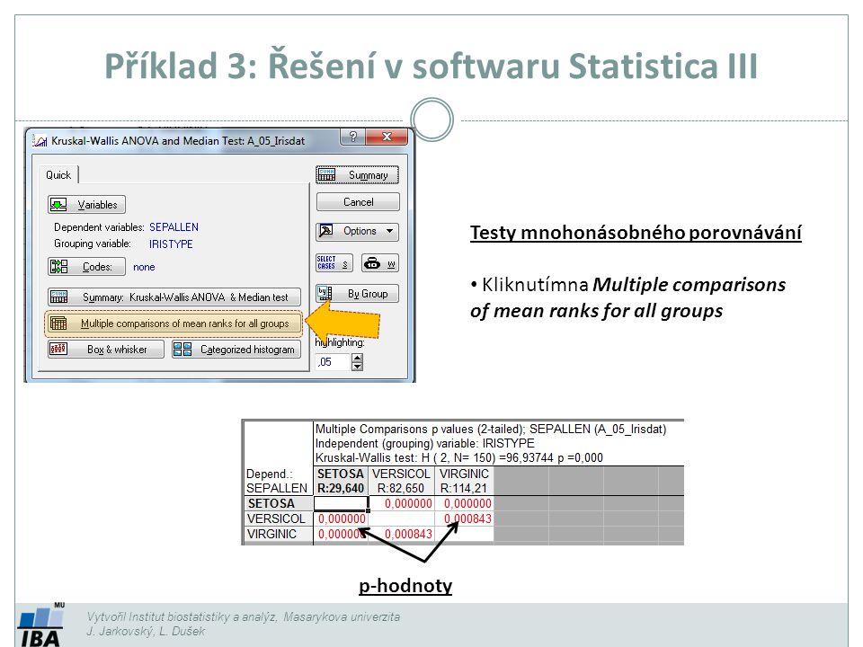 Příklad 3: Řešení v softwaru Statistica III Vytvořil Institut biostatistiky a analýz, Masarykova univerzita J. Jarkovský, L. Dušek p-hodnoty Testy mno