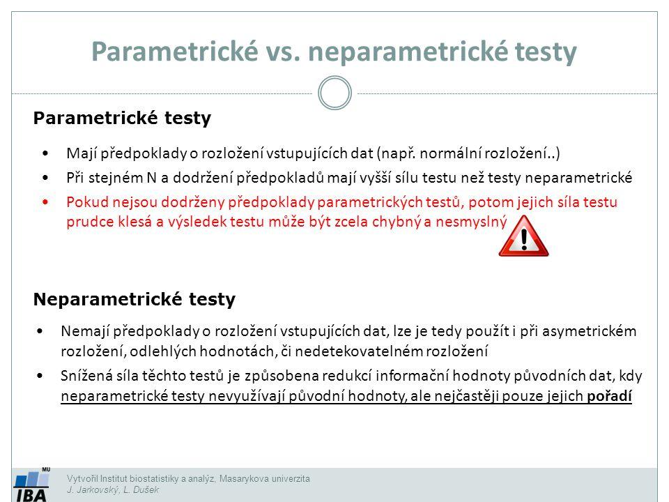 Typ srovnáníParametrický testNeparametrický test 2 skupiny dat nepárově:Nepárový t-testMannův Whitneyho test 2 skupiny dat párově:Párový t-testWilcoxonův test, znaménkový test Více skupin nepárově:ANOVAKruskalův- Wallisův test Korelace:Pearsonův koeficientSpearmanův koeficient Vytvořil Institut biostatistiky a analýz, Masarykova univerzita J.