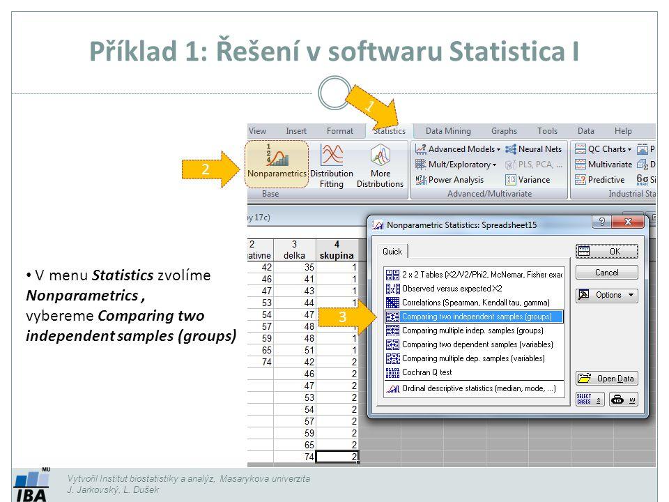 Vytvořil Institut biostatistiky a analýz, Masarykova univerzita J. Jarkovský, L. Dušek Příklad 1: Řešení v softwaru Statistica I 1 3 V menu Statistics