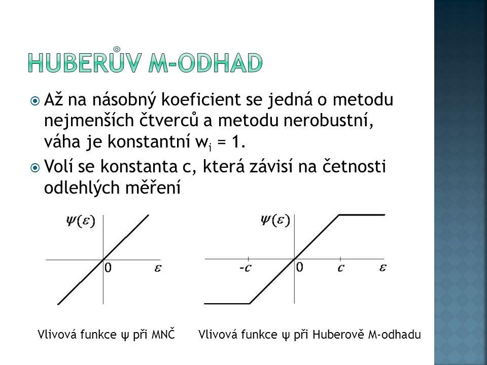  Až na násobný koeficient se jedná o metodu nejmenších čtverců a metodu nerobustní, váha je konstantní w i = 1.  Volí se konstanta c, která závisí n
