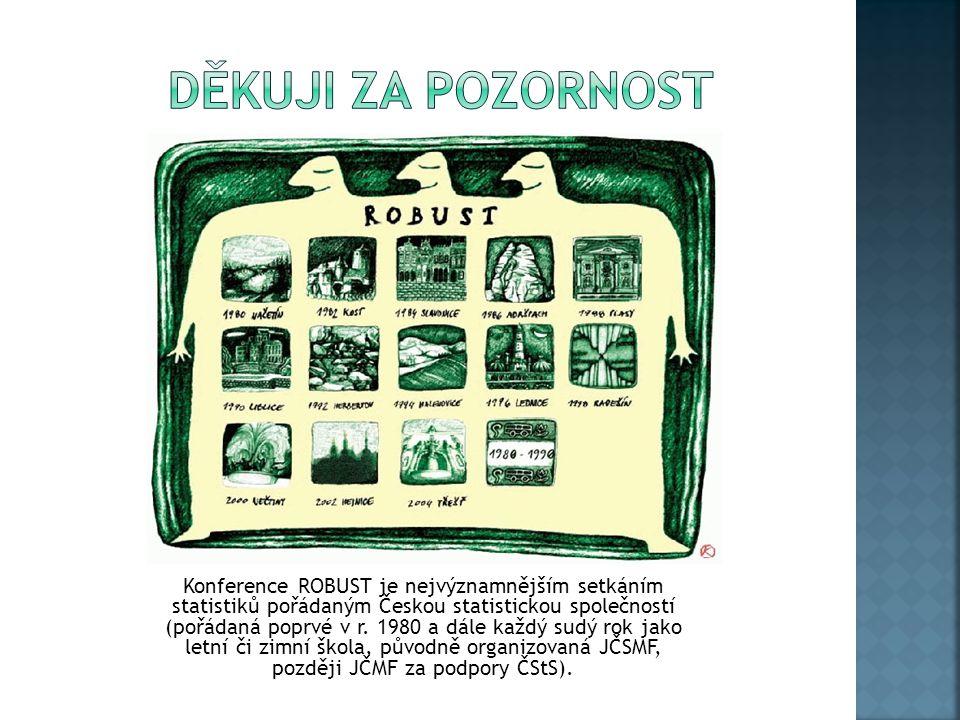 Konference ROBUST je nejvýznamnějším setkáním statistiků pořádaným Českou statistickou společností (pořádaná poprvé v r. 1980 a dále každý sudý rok ja