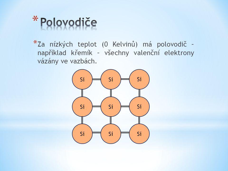 * Za nízkých teplot (0 Kelvinů) má polovodič – například křemík – všechny valenční elektrony vázány ve vazbách. Si