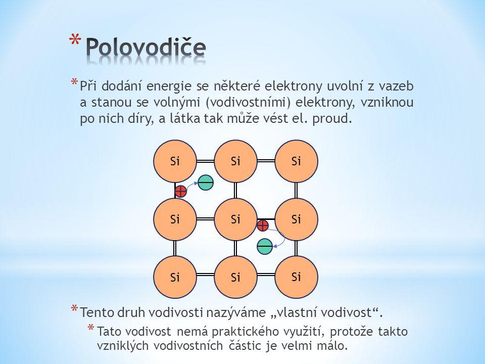 * Při dodání energie se některé elektrony uvolní z vazeb a stanou se volnými (vodivostními) elektrony, vzniknou po nich díry, a látka tak může vést el