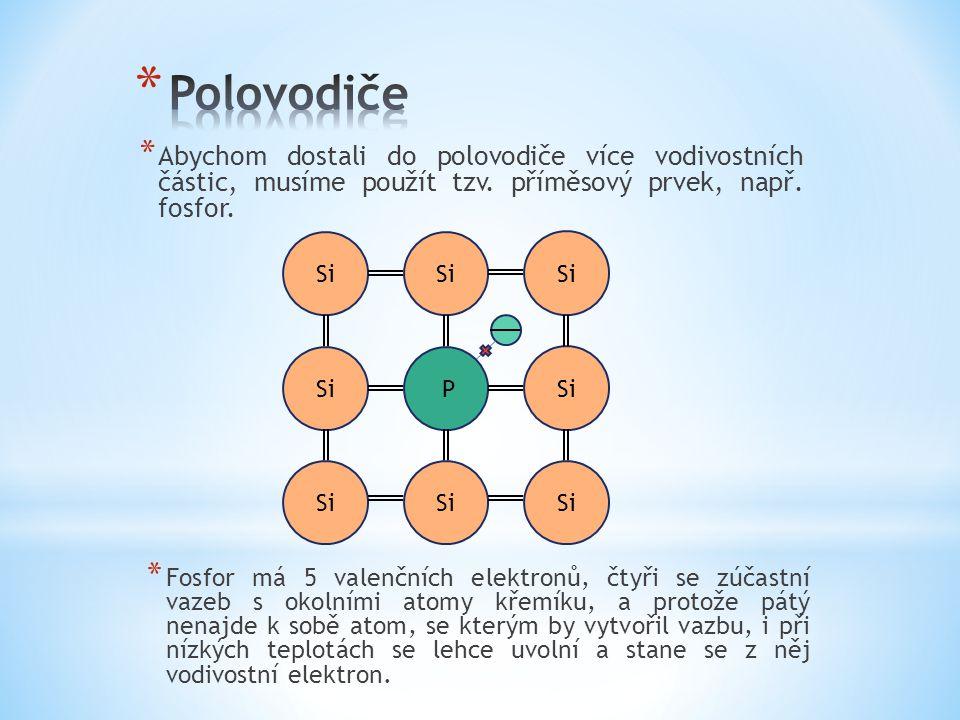 * Abychom dostali do polovodiče více vodivostních částic, musíme použít tzv. příměsový prvek, např. fosfor. * Fosfor má 5 valenčních elektronů, čtyři