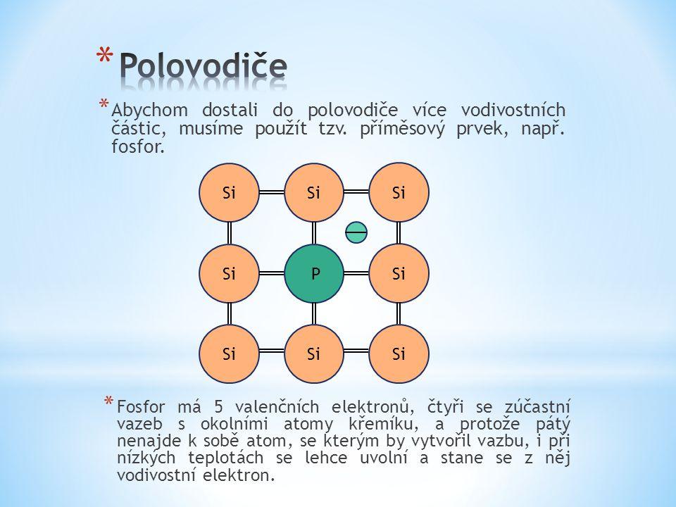* Abychom dostali do polovodiče více vodivostních částic, musíme použít tzv. příměsový prvek, např. fosfor. Si P * Fosfor má 5 valenčních elektronů, č