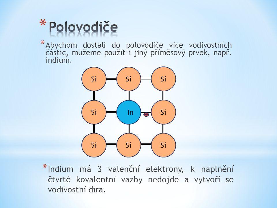 * Abychom dostali do polovodiče více vodivostních částic, můžeme použít i jiný příměsový prvek, např. indium. * Indium má 3 valenční elektrony, k napl
