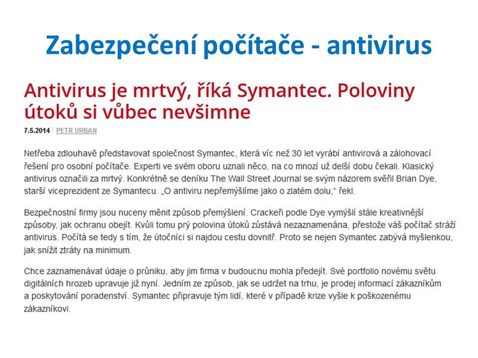 Zabezpečení počítače - antivirus