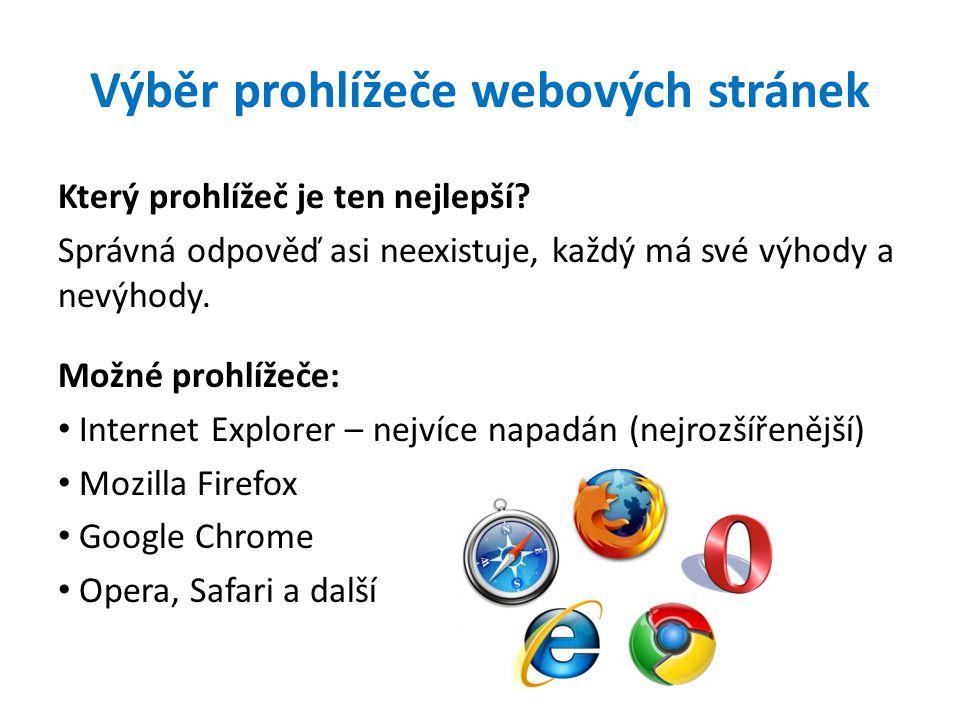 Výběr prohlížeče webových stránek Který prohlížeč je ten nejlepší.