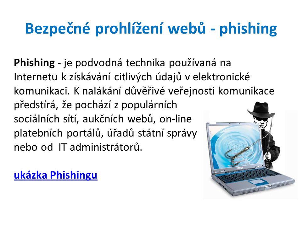 Bezpečné prohlížení webů - phishing Phishing - je podvodná technika používaná na Internetu k získávání citlivých údajů v elektronické komunikaci.