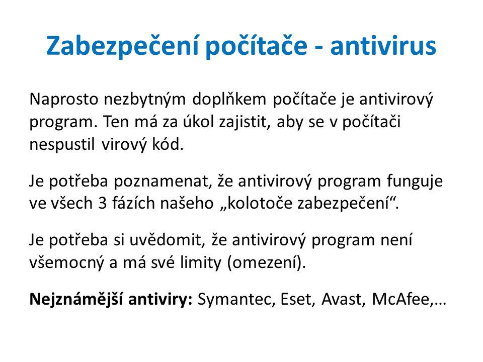 Zabezpečení počítače - antivirus Naprosto nezbytným doplňkem počítače je antivirový program.