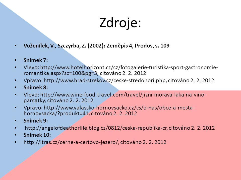 Zdroje: Voženílek, V., Szczyrba, Z. (2002): Zeměpis 4, Prodos, s. 109 Snímek 7: Vlevo: http://www.hotelhorizont.cz/cz/fotogalerie-turistika-sport-gast