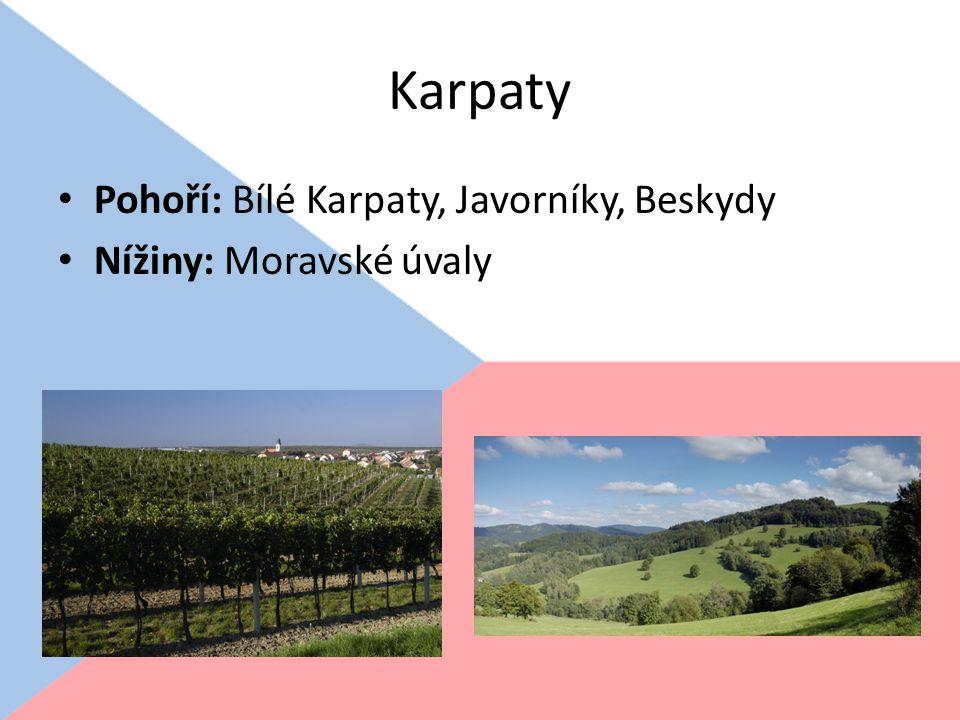 Karpaty Pohoří: Bílé Karpaty, Javorníky, Beskydy Nížiny: Moravské úvaly