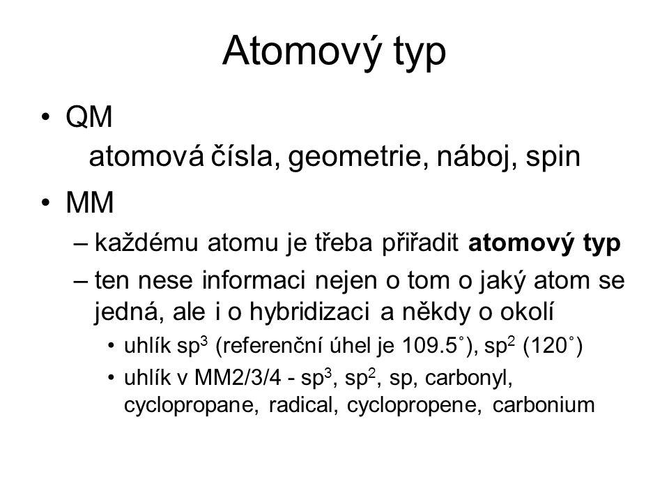 Atomový typ QM MM –každému atomu je třeba přiřadit atomový typ –ten nese informaci nejen o tom o jaký atom se jedná, ale i o hybridizaci a někdy o okolí uhlík sp 3 (referenční úhel je 109.5˚), sp 2 (120˚) uhlík v MM2/3/4 - sp 3, sp 2, sp, carbonyl, cyclopropane, radical, cyclopropene, carbonium atomová čísla, geometrie, náboj, spin