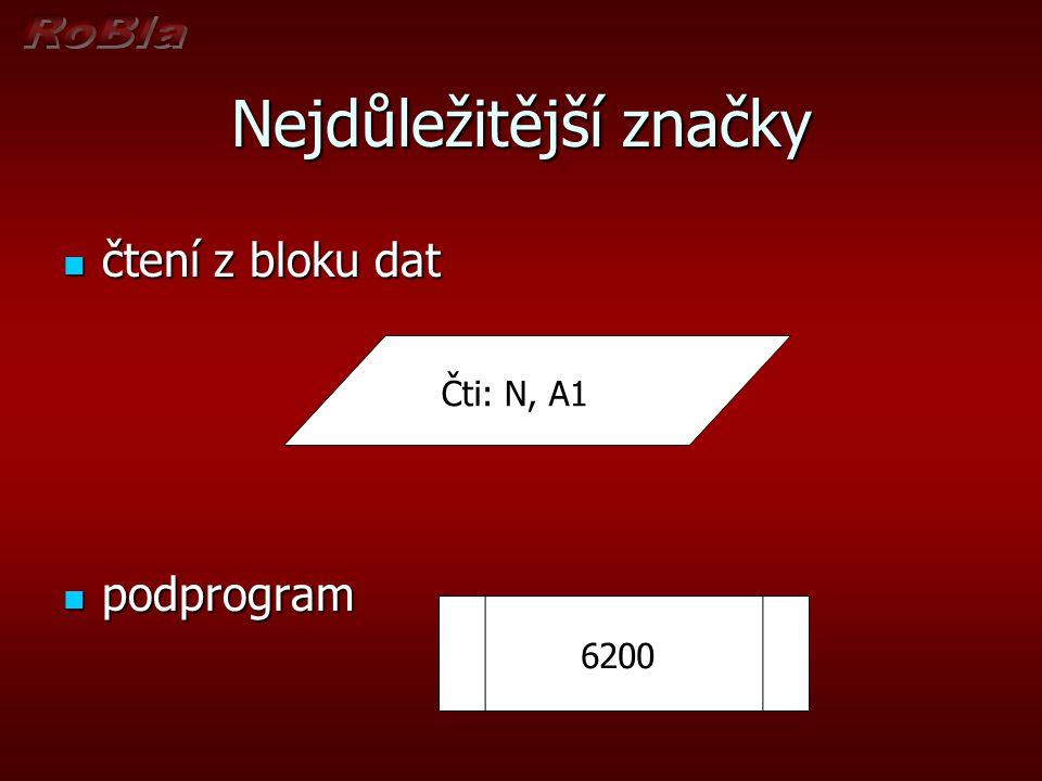Nejdůležitější značky čtení z bloku dat čtení z bloku dat podprogram podprogram čti: N, A1 Čti: N, A1 6200