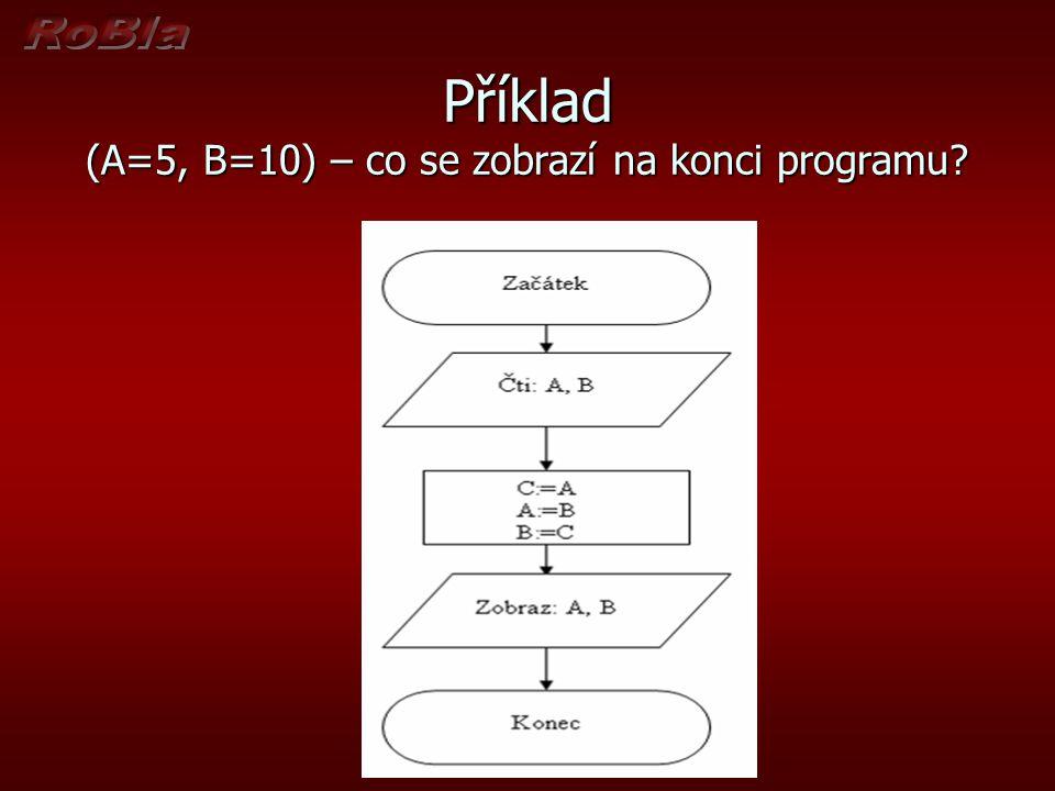 Příklad (A=5, B=10) – co se zobrazí na konci programu?