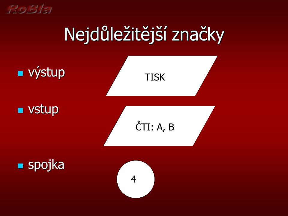 Nejdůležitější značky výstup výstup vstup vstup spojka spojka Tisk TISK 4 4 Tisk ČTI: A, B