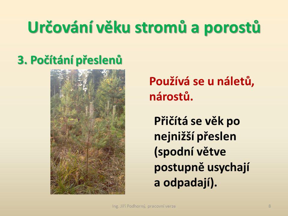 Určování věku stromů a porostů 2. Z lesní hospodářské evidence Používá se u kultur, které vznikly během platnosti LHP (nejsou uvedeny v hospodářské kn