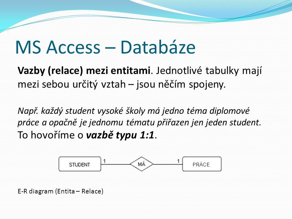 MS Access – Databáze Vazby (relace) mezi entitami. Jednotlivé tabulky mají mezi sebou určitý vztah – jsou něčím spojeny. Např. každý student vysoké šk