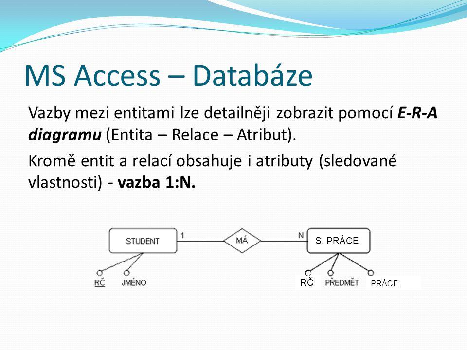 MS Access – Databáze Vazby mezi entitami lze detailněji zobrazit pomocí E-R-A diagramu (Entita – Relace – Atribut). Kromě entit a relací obsahuje i at