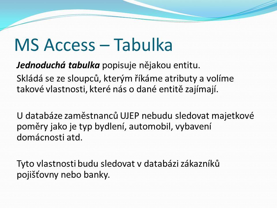 MS Access – Tabulka Jednoduchá tabulka popisuje nějakou entitu. Skládá se ze sloupců, kterým říkáme atributy a volíme takové vlastnosti, které nás o d