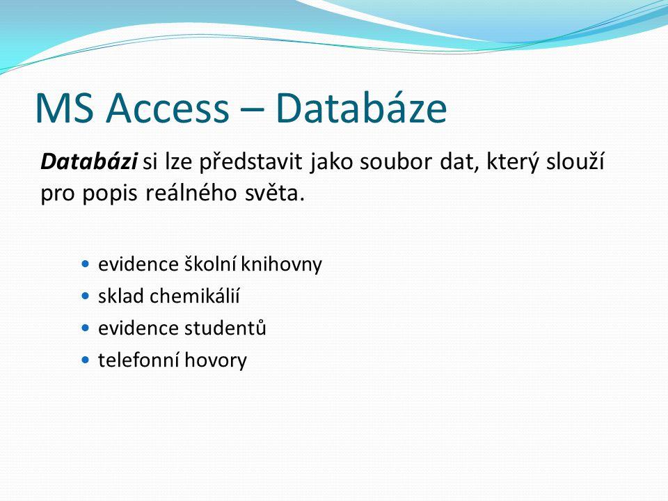 MS Access – Databáze Databázi si lze představit jako soubor dat, který slouží pro popis reálného světa. evidence školní knihovny sklad chemikálií evid