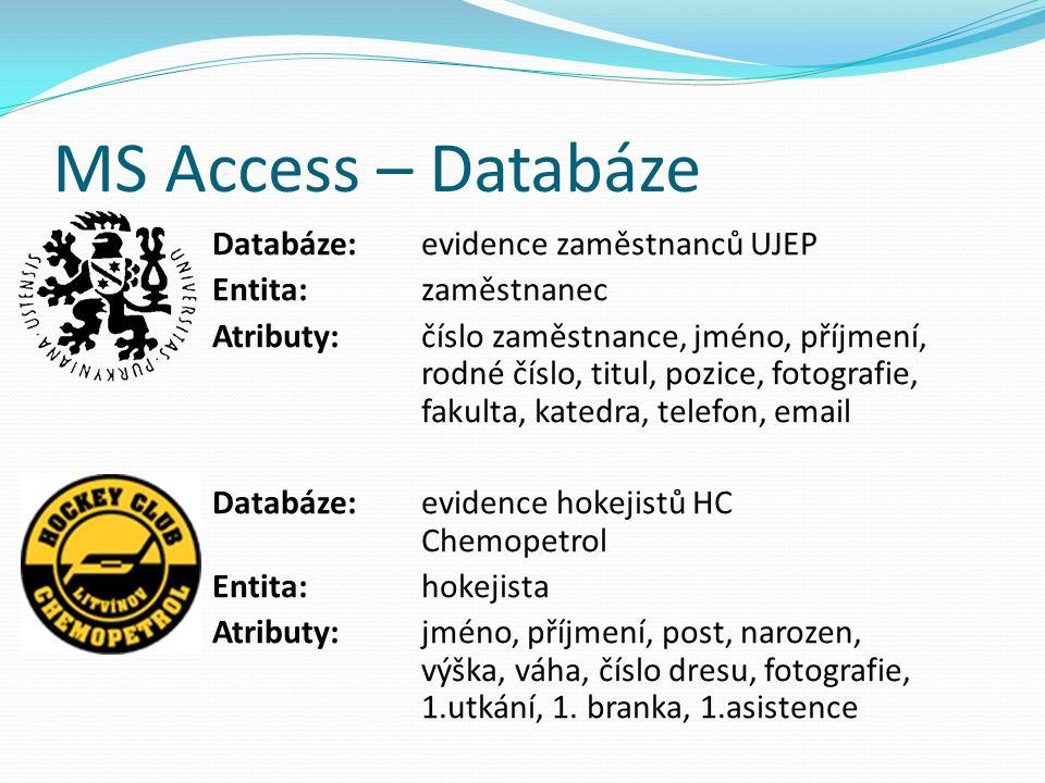 MS Access – Databáze Databáze:evidence zaměstnanců UJEP Entita:zaměstnanec Atributy:číslo zaměstnance, jméno, příjmení, rodné číslo, titul, pozice, fo