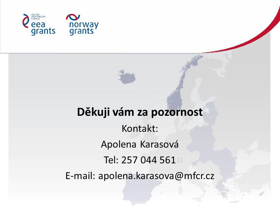 Děkuji vám za pozornost Kontakt: Apolena Karasová Tel: 257 044 561 E-mail: apolena.karasova@mfcr.cz