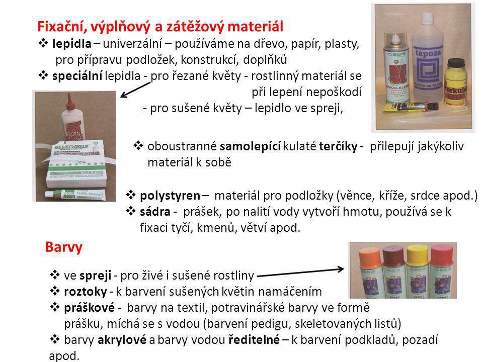 Fixační, výplňový a zátěžový materiál  lepidla – univerzální – používáme na dřevo, papír, plasty, pro přípravu podložek, konstrukcí, doplňků  speciální lepidla - pro řezané květy - rostlinný materiál se při lepení nepoškodí - pro sušené květy – lepidlo ve spreji,  oboustranné samolepící kulaté terčíky - přilepují jakýkoliv materiál k sobě  polystyren – materiál pro podložky (věnce, kříže, srdce apod.)  sádra - prášek, po nalití vody vytvoří hmotu, používá se k fixaci tyčí, kmenů, větví apod.