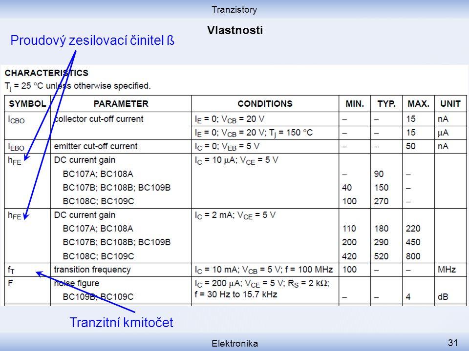 Tranzistory Elektronika 31 Tranzitní kmitočet Proudový zesilovací činitel ß