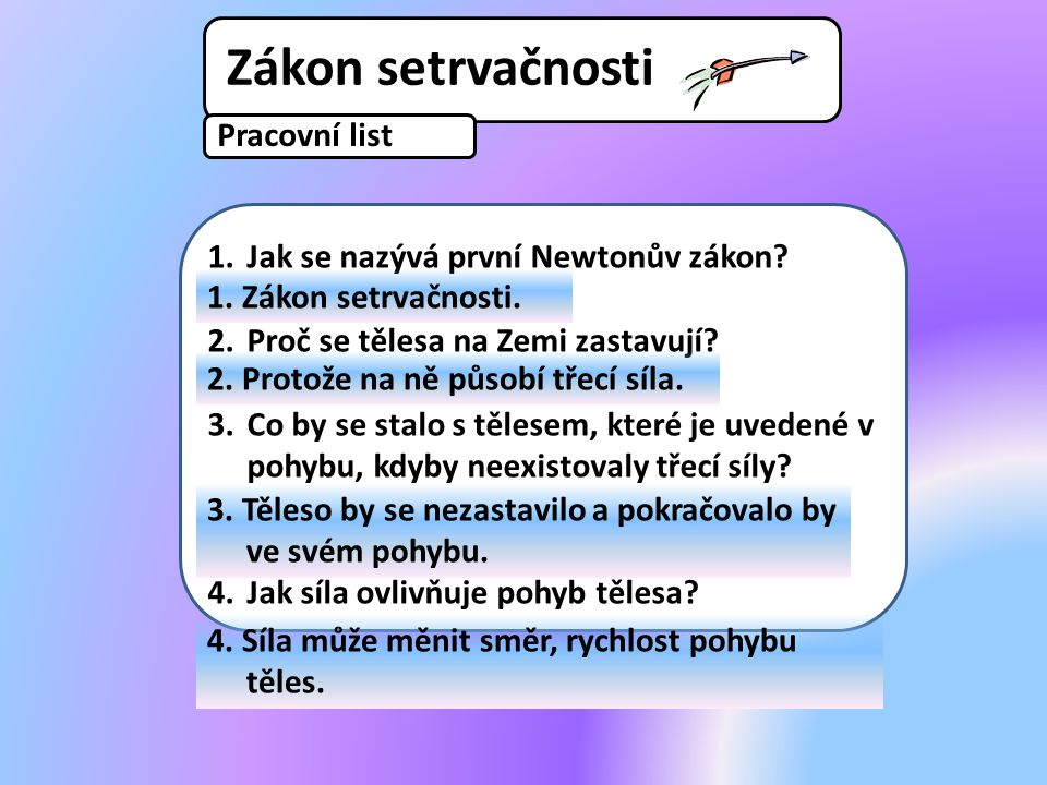 Pracovní list 1.Jak se nazývá první Newtonův zákon? 2.Proč se tělesa na Zemi zastavují? 3.Co by se stalo s tělesem, které je uvedené v pohybu, kdyby n