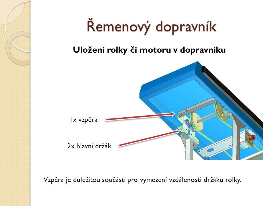 Uložení rolky či motoru v dopravníku 1x vzpěra 2x hlavní držák Vzpěra je důležitou součástí pro vymezení vzdálenosti držáků rolky. Řemenový dopravník