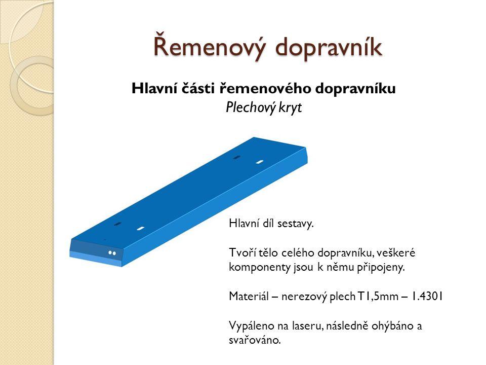 Hlavní části řemenového dopravníku Rozváděcí skříň Řemenový dopravník Centrum elektrotechnického vybavení dopravníku.