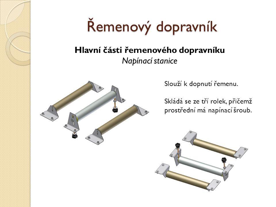 Hlavní části řemenového dopravníku Motor a vodící rolka řemenů Řemenový dopravník Slouží k vedení řemenů.