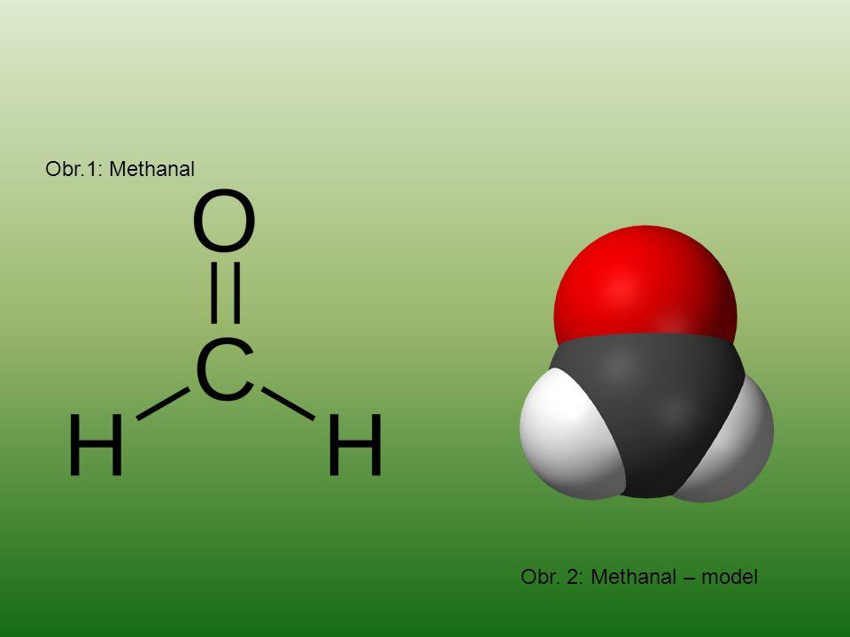 ETHANAL ACETALDEHYD CH 3 CHO Kapalina štiplavého zápachu, velmi těkavá Vyrábí se oxidací ethanolu Používá se k výrobě kaučuku, barviv a léčiv i k výrobě kyseliny octové