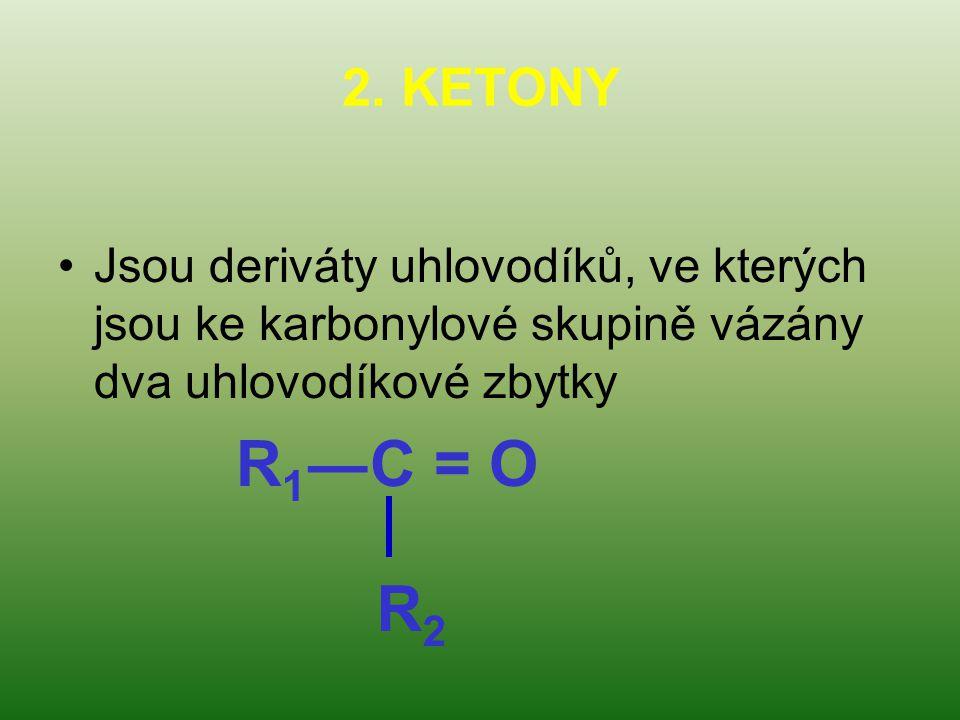 2. KETONY Jsou deriváty uhlovodíků, ve kterých jsou ke karbonylové skupině vázány dva uhlovodíkové zbytky R 1 ―C = O R2R2