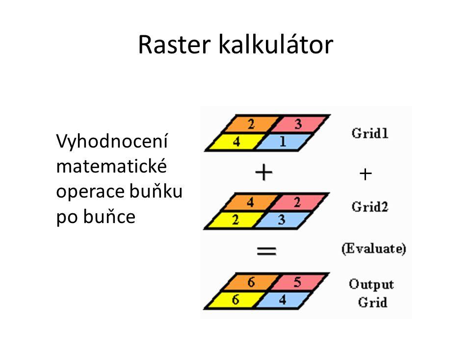 Raster kalkulátor Vyhodnocení matematické operace buňku po buňce