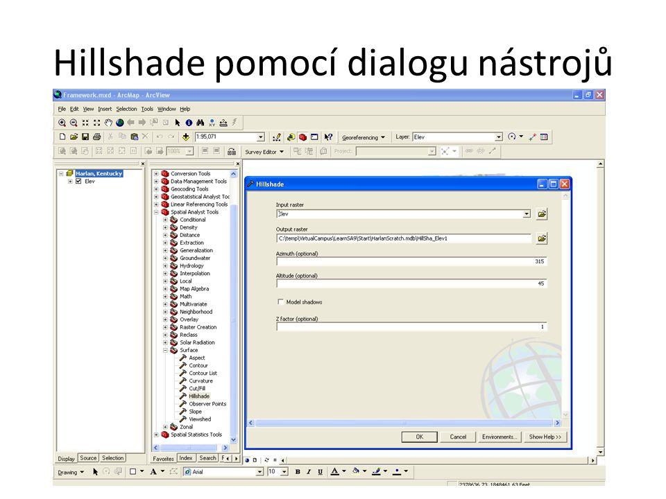 Hillshade pomocí dialogu nástrojů