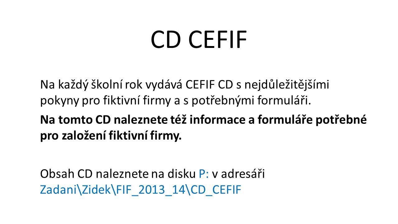 Na každý školní rok vydává CEFIF CD s nejdůležitějšími pokyny pro fiktivní firmy a s potřebnými formuláři.