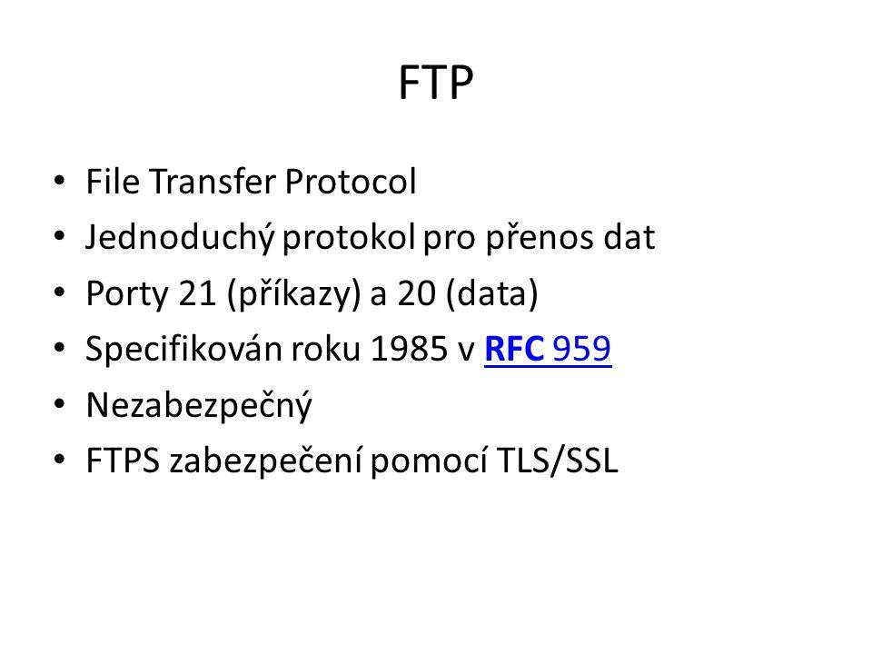 FTP File Transfer Protocol Jednoduchý protokol pro přenos dat Porty 21 (příkazy) a 20 (data) Specifikován roku 1985 v RFC 959RFC 959 Nezabezpečný FTPS zabezpečení pomocí TLS/SSL