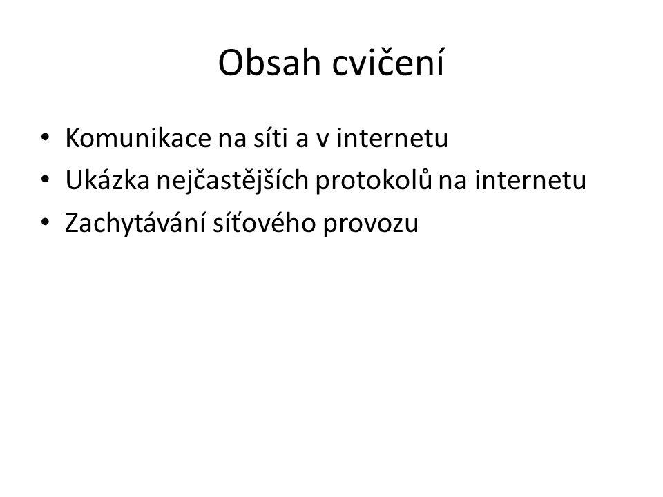 Obsah cvičení Komunikace na síti a v internetu Ukázka nejčastějších protokolů na internetu Zachytávání síťového provozu