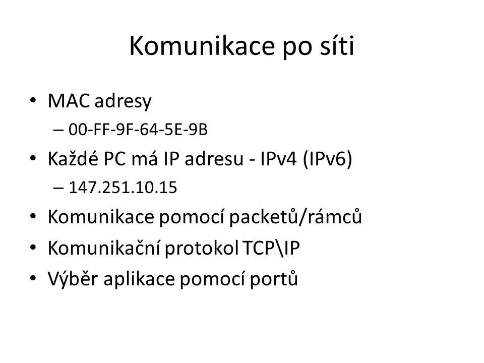 Komunikace po síti MAC adresy – 00-FF-9F-64-5E-9B Každé PC má IP adresu - IPv4 (IPv6) – 147.251.10.15 Komunikace pomocí packetů/rámců Komunikační protokol TCP\IP Výběr aplikace pomocí portů