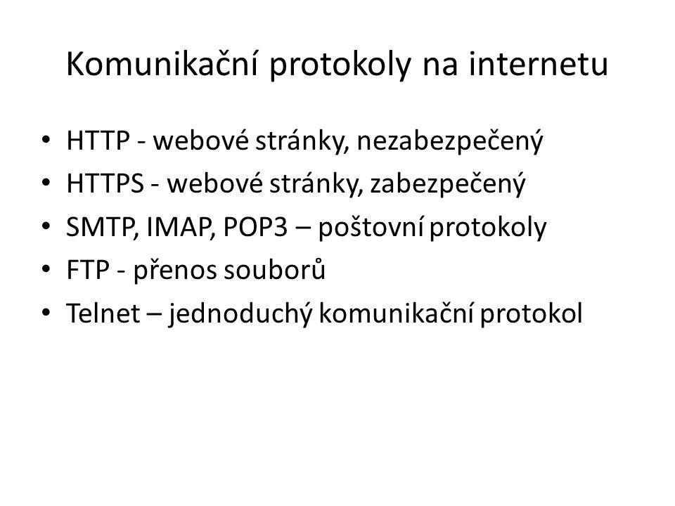 Komunikační protokoly na internetu HTTP - webové stránky, nezabezpečený HTTPS - webové stránky, zabezpečený SMTP, IMAP, POP3 – poštovní protokoly FTP - přenos souborů Telnet – jednoduchý komunikační protokol