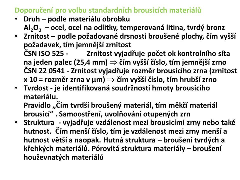 Doporučení pro volbu standardních brousicích materiálů Druh – podle materiálu obrobku Al 2 O 3 – ocel, ocel na odlitky, temperovaná litina, tvrdý bronz Zrnitost – podle požadované drsnosti broušené plochy, čím vyšší požadavek, tím jemnější zrnitost ČSN ISO 525 - Zrnitost vyjadřuje počet ok kontrolního síta na jeden palec (25,4 mm)  čím vyšší číslo, tím jemnější zrno ČSN 22 0541 - Zrnitost vyjadřuje rozměr brousicího zrna (zrnitost x 10 = rozměr zrna v µm)  čím vyšší číslo, tím hrubší zrno Tvrdost - je identifikovaná soudržností hmoty brousicího materiálu.