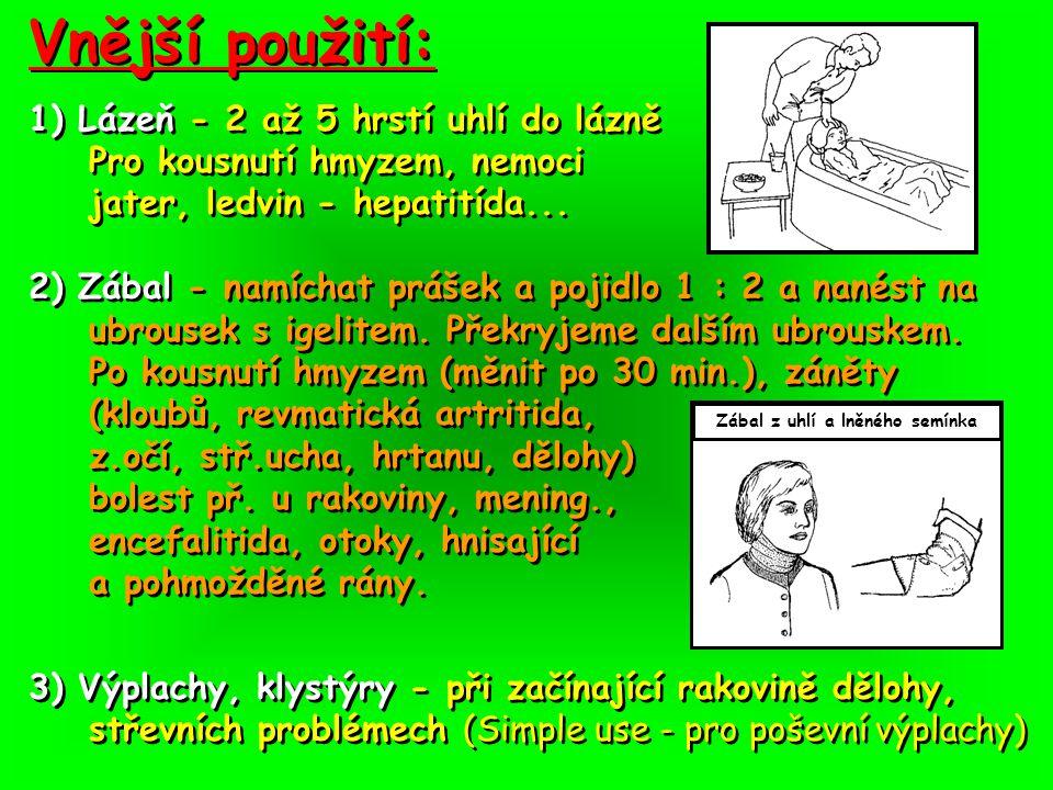 Vnější použití: 1) Lázeň - 2 až 5 hrstí uhlí do lázně Pro kousnutí hmyzem, nemoci jater, ledvin - hepatitída...
