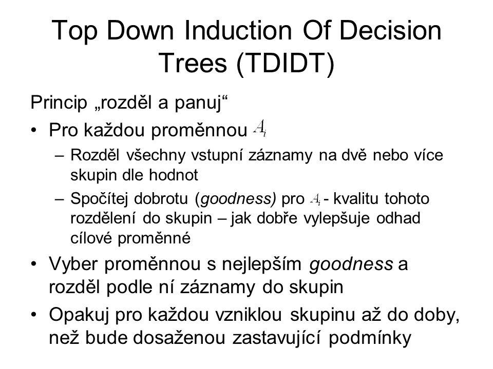 """Top Down Induction Of Decision Trees (TDIDT) Princip """"rozděl a panuj Pro každou proměnnou –Rozděl všechny vstupní záznamy na dvě nebo více skupin dle hodnot –Spočítej dobrotu (goodness) pro - kvalitu tohoto rozdělení do skupin – jak dobře vylepšuje odhad cílové proměnné Vyber proměnnou s nejlepším goodness a rozděl podle ní záznamy do skupin Opakuj pro každou vzniklou skupinu až do doby, než bude dosaženou zastavující podmínky"""